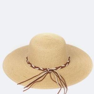 Accessories - Braided Suede Band Straw Hat